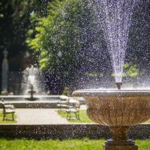 fontanna w parku dworskim w Iłowej