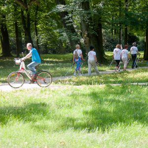 Grupa uprawiająca nordic walking, mężczyzna jedzie na rowerze