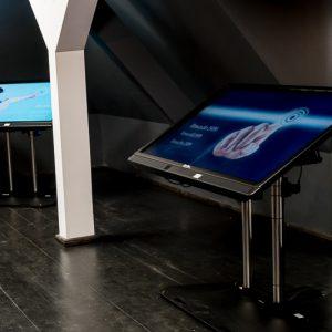 Duże kolorowe monitory w sali na poddaszu